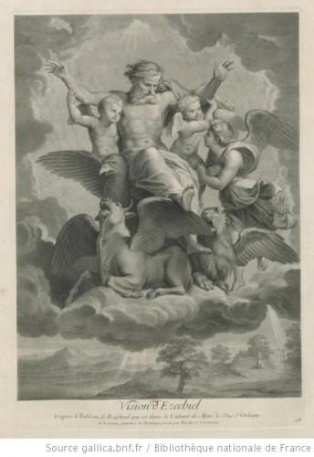 ezechiel, vision, raphael, La vision d'Ezechiel, estampe, Nicolas de Larmessin