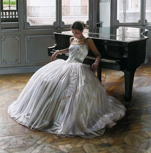 femme, piano, robe