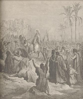 jésus, jérusalem, rameaux, gustave doré