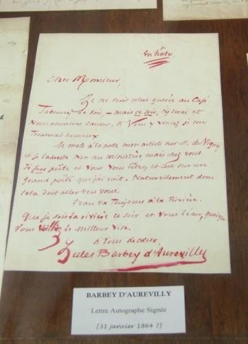 barbey,aurevilly,barbey d'aurevilly,alfred de musset,librairie,autographe,rue napoléon