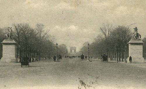 champs elysées, paris, noir et blanc, ancienne photo