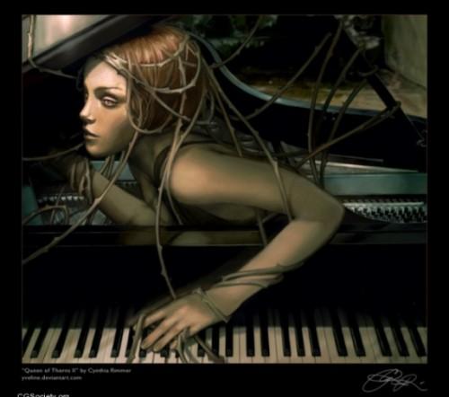 femme, piano, sirène