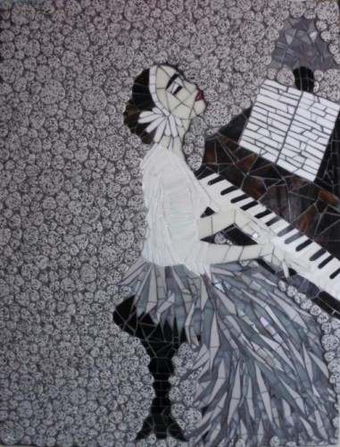 pianiste, femme, mosaique