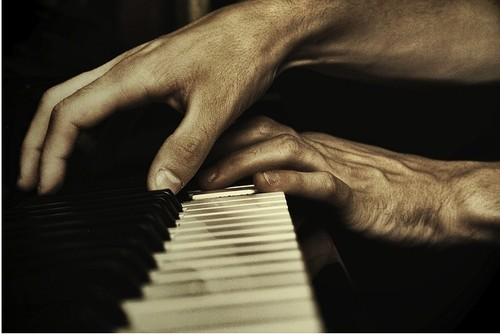 piano, mains, homme