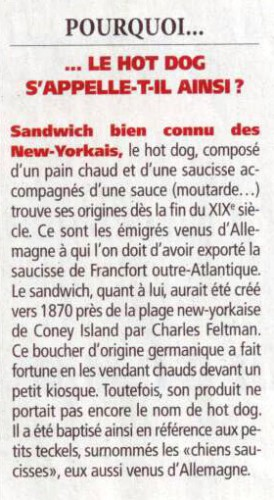 Etymologie - hot dog - DIRECT MATIN mercredi 27 novembre 2013.jpg