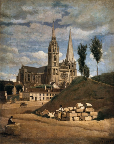 corot, camille corot, cathédrale, chartres
