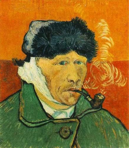 van gogh, pipe, autoportrait
