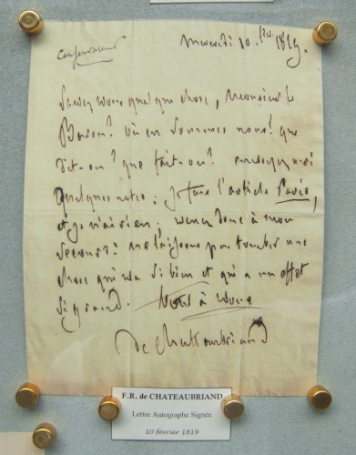 chateaubriand,librairie,autographe,rue napoléon