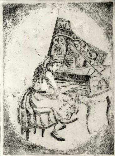 pianiste, fille, gravure