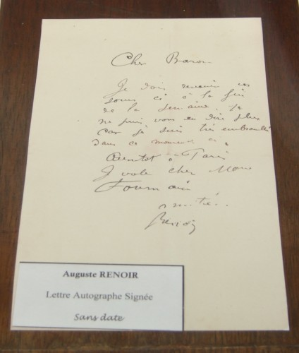 auguste,renoir,auguste renoir,librairie,autographe,rue napoléon