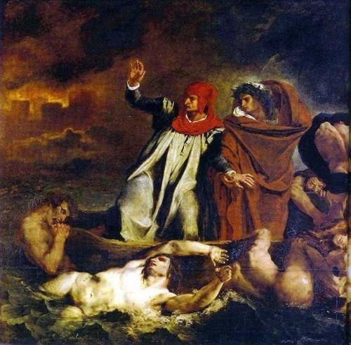 dante, delacroix, divine comédie, enfer, enfers, la barque de dante