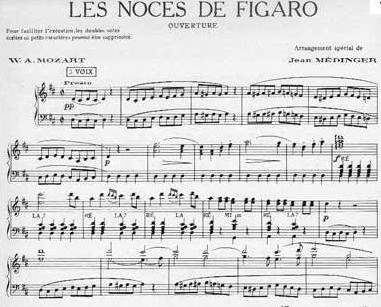 noces de figaro, mozart, partition